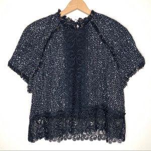 Zara Woman Black Short Sleeve Lace Blouse Size XL